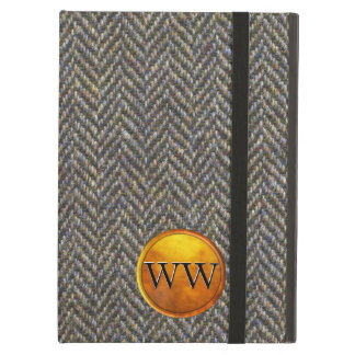 Vintage Tweed Gold and Brass Monogram iPad Air Cover