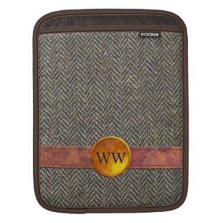 Vintage Tweed, Leather and Gold Monogram Sleeve For iPads