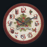 """Vintage Twelve Days of Christmas Large Clock<br><div class=""""desc"""">Whimsical and festive holiday design featuring traditional elements of the classic holiday song bordering an antique clock face with clock hands,  holly and title banner in center. Background and back is distressed red floral damask.</div>"""