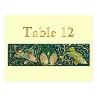 Vintage Twin Fishes Reception Table Numbers Post Cards