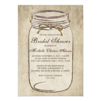 Vintage Twine Mason Jar Bridal Shower Invitation