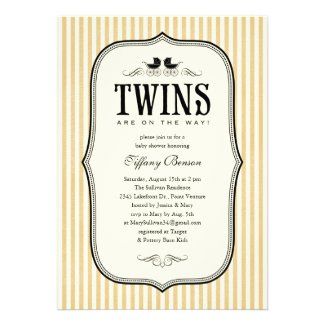 Vintage Twins Baby Shower Invitations baby shower theme for twins
