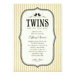 Vintage Twins Baby Shower Invitations
