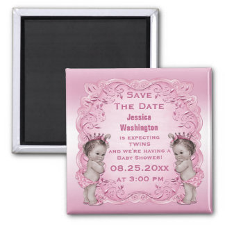 Vintage Twins Princess Baby Shower Save the Date 2 Inch Square Magnet