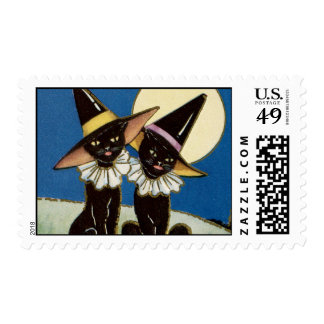 Vintage Two Black Cats Halloween Postage Stamps
