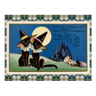 Vintage Two Black Cats Halloween Postcard