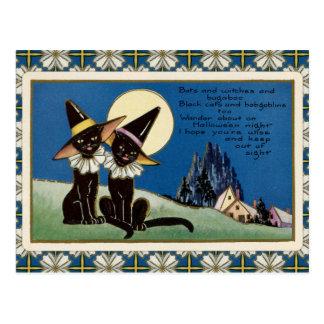 Vintage Two Black Cats Halloween Postcard