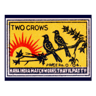 Vintage Two Crows Match Label Postcard
