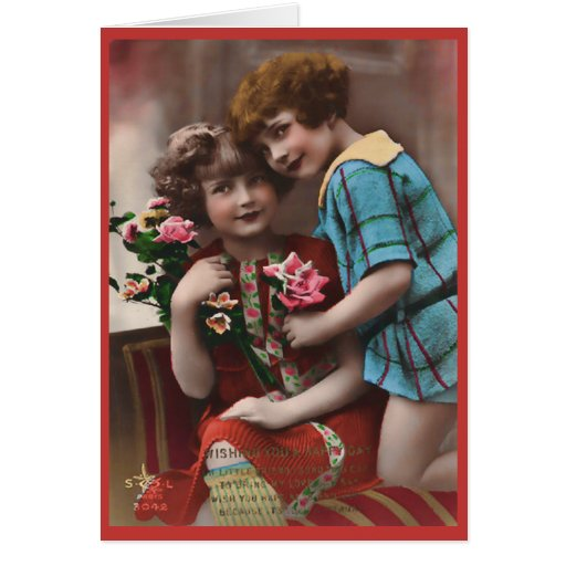 Vintage Two Little Girls Friendship Card