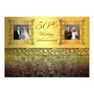 vintage two photos 50 anniversary invitations