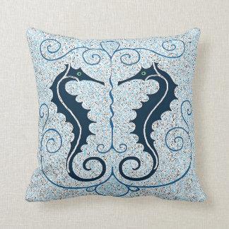 Vintage Two Seahorses Design Pillow