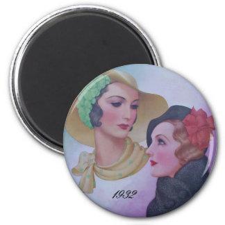 Vintage Two Women 1932 2 Inch Round Magnet