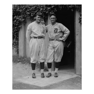 Vintage Ty Cobb and Walter Johnson Large Poster