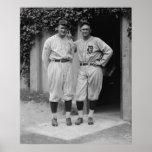 Vintage Ty Cobb y poster grande de Gualterio Johns