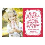 Vintage Type Holiday Photo Card - Red Custom Invitation