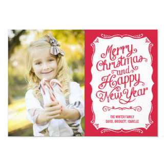 """Vintage Type Holiday Photo Card - Red 5"""" X 7"""" Invitation Card"""