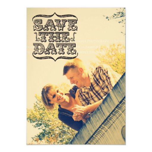 Vintage Type Photo Save the Date Announcement
