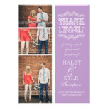 Vintage Type Purple Wedding Thank You Photo Cards