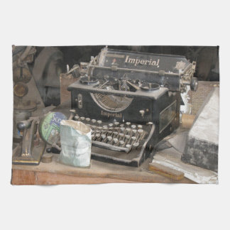 Vintage Type writer in dusty office workshop Hand Towel