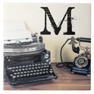 Vintage Type Writer Retro Monogram Display Tile