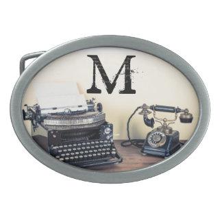 Vintage Type Writer Victorian Monogram Belt Buckle