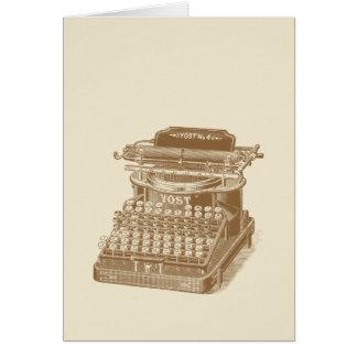 Vintage Typewriter Brown Type Writting Machine Card