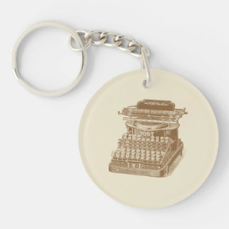 Vintage Typewriter Brown Type Writting Machine Double-Sided Round Acrylic Keychain