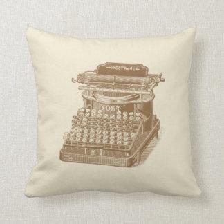 Vintage Typewriter Brown Type Writting Machine Throw Pillows