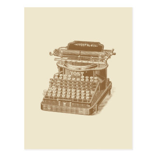 Vintage Typewriter Brown Type Writting Machine Postcard