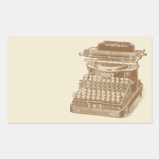 Vintage Typewriter Brown Type Writting Machine Rectangular Sticker