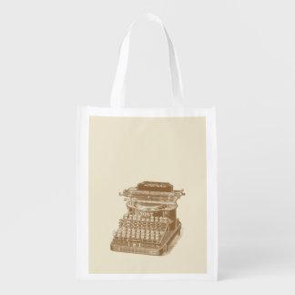 Vintage Typewriter Brown Type Writting Machine Reusable Grocery Bag