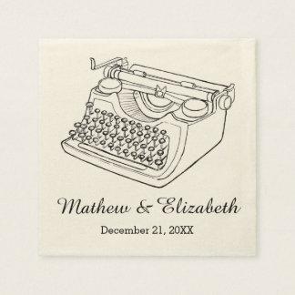 Vintage Typewriter Custom Wedding Napkin