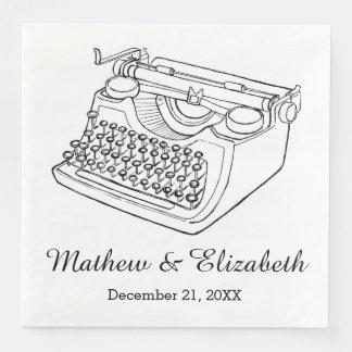 Vintage Typewriter Custom Wedding Paper Dinner Napkin