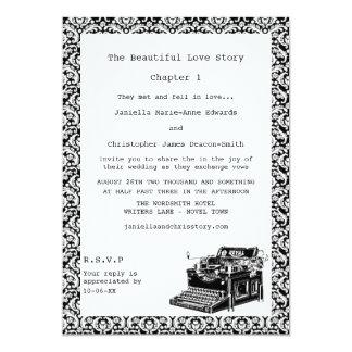"Vintage Typewriter Damask Wedding Invites 5"" X 7"" Invitation Card"