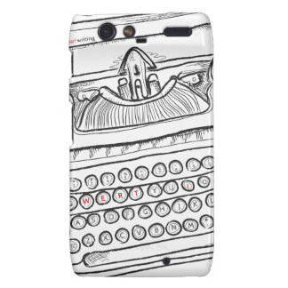 Vintage Typewriter, Hand Drawn, Gifts for Writers Motorola Droid RAZR Covers