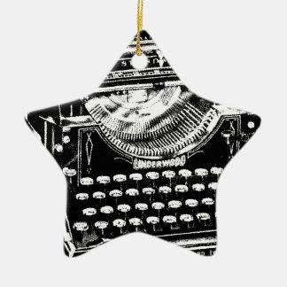 Vintage Typewriter Illustration Christmas Tree Ornaments