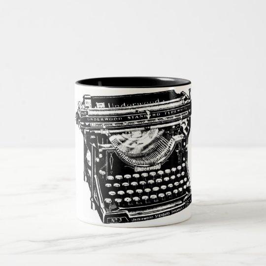Vintage Typewriter Illustration Two-Tone Coffee Mug