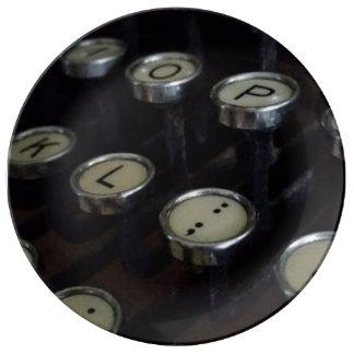 "Vintage Typewriter Keys 10.75"" Porcelain Plate"
