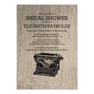 Vintage Typewriter Keys Bridal Shower Invitations Cards