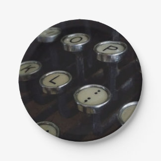 "Vintage Typewriter Keys Custom Paper Plates 7"""