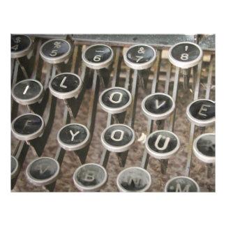 "Vintage Typewriter Keys ""I Love You"" Personalized Flyer"