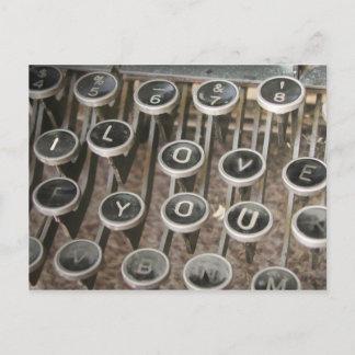 "Vintage Typewriter Keys ""I Love You"" Postcard"