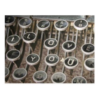 "Vintage Typewriter Keys ""I Love You"" Postcard"