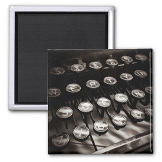 Vintage Typewriter Keys in Black and White 2 Inch Square Magnet