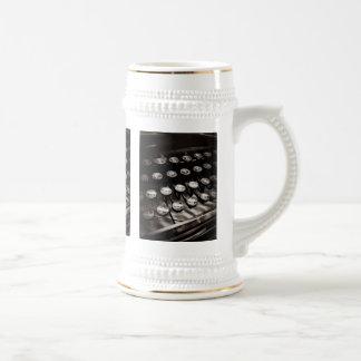 Vintage Typewriter Keys in Black and White Beer Stein