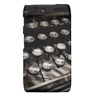 Vintage Typewriter Keys in Black and White Droid RAZR Case