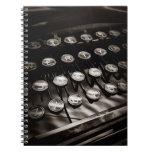 Vintage Typewriter Keys in Black and White Notebook