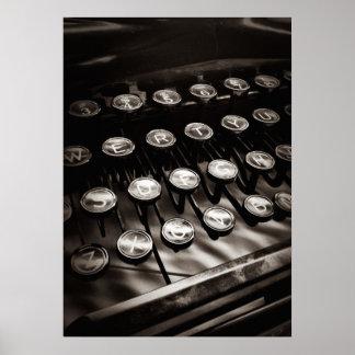 Vintage Typewriter Keys in Black and White Poster