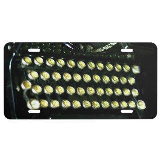 Vintage typewriter keys license plate