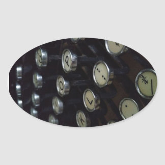 Vintage Typewriter Keys Oval Stickers, Glossy Oval Sticker